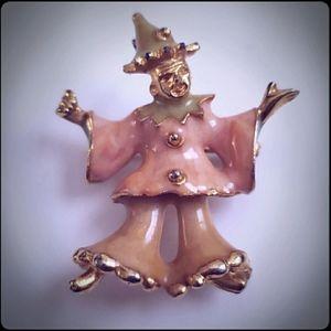 Vintage Golden Clown Enamel Pin Brooch Necklace